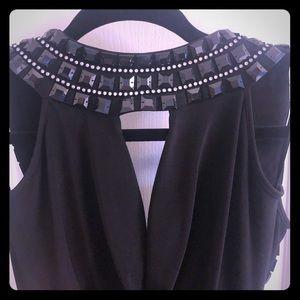 Black jewel detail low back adjustable dress